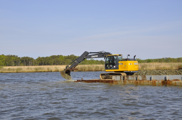 This local granite will create a patchwork of small reefs in shallow waters off of Eastern Neck National Wildlife Refuge. The design involved 11 reefs totaling about one acre of habitat in a two-acre area. The reef ecosystem will support worms, sponges, barnacles, oysters, mussels, and fish; including keystone species such as juvenile herring, striped bass, blue crabs, and American eels. Credit: USFWS