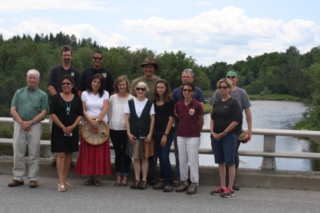 Representatives from the Maliseet Tribe and partnering organizations pose for a group photo. Partnering agencies involved are: Maine Department of Environmental Protection, Houlton Band of Maliseets, Southern Aroostook Soil and Water Conservation District, Natural Resources Conservation Service, U.S. Fish and Wildlife Service and Town of Littleton.