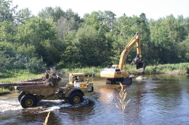 Fish habitat restoration on the Meduxnekeag river is just one of the projects Tannar is involved with. Photo credit: USFWS
