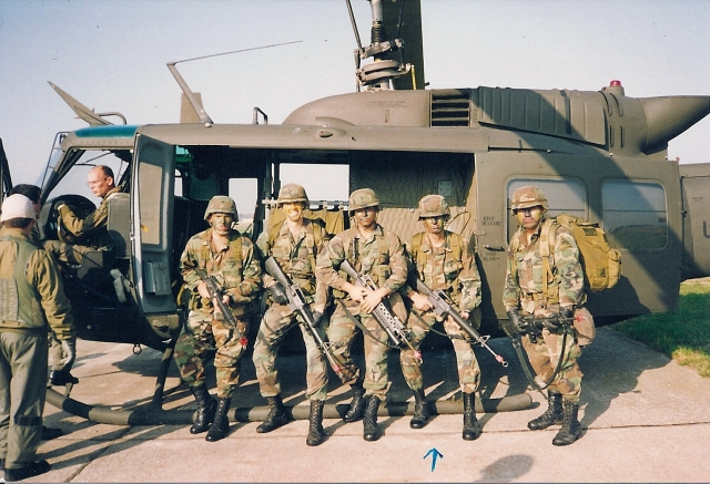 This photo captures Damian's actual days serving in the military. Here, Damian and his squad get ready for a helicopter insertion training exercise. Photo: Damian Martelli