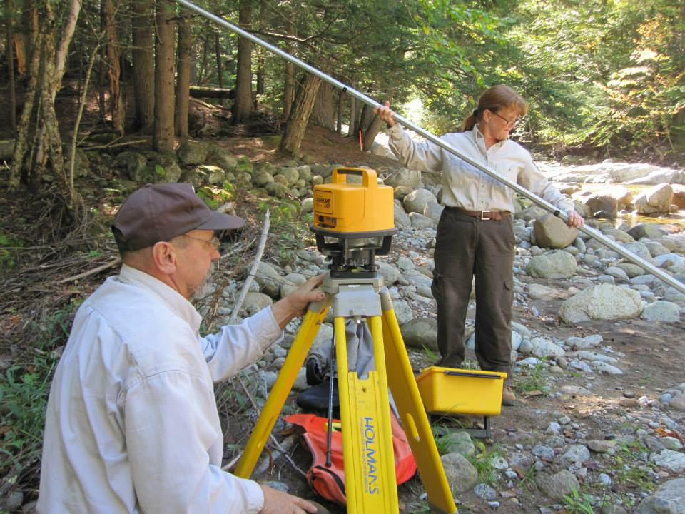 Martha Naley with colleague Carl Schwartz at John's Brook restoration site, Essex County, NY