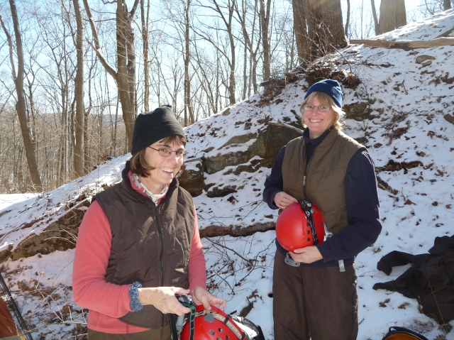 Anne and fellow New York Field Office biologist Sandie Doran getting ready to conduct winter census of bat hibernaculum in New York. Photo courtesy of Anne.
