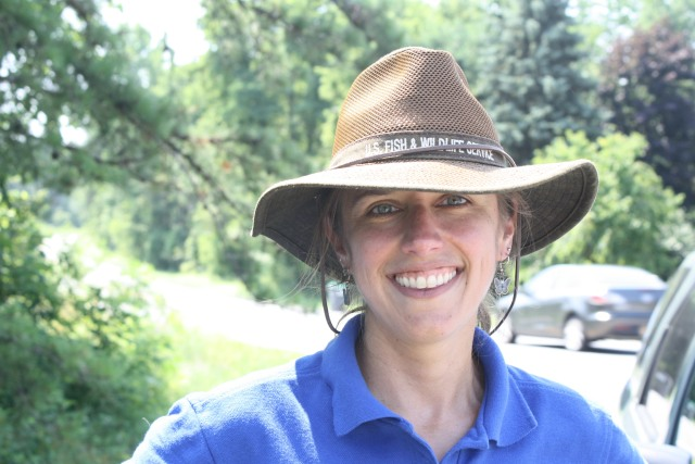 Robyn wearing her awesome field hat. Credit: Meagan Racey/USFWS