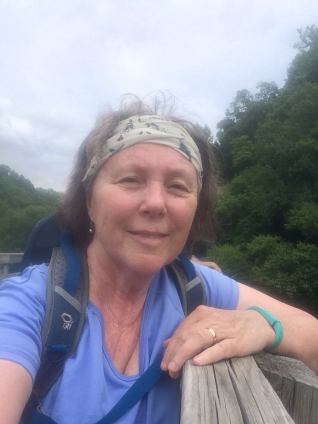 Roberta hiking the Virginia Creeper Trail. Photo courtesy of Roberta.