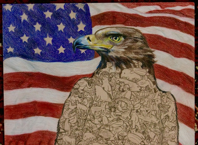 This eagle drawing by 10-year-old Difei Li won the 3-5 grade category of the Endangered Species Youth Art Contest!