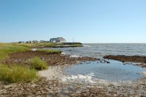 Waves crashing at Gandy's Beach before living shoreline construction. Hurricane Sandy flooded Delaware Bay and eroded salt marsh habitat.