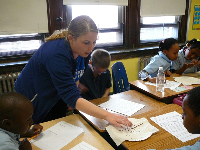 Kelly teaching students. She's part of the Environmental Education Program at John Heinz NWR.