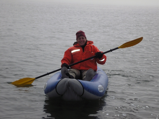 Deb working with eiders at Walrus Island. Photo courtesy of Deb.
