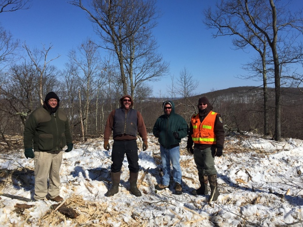Partners (loggers Joe Zarecki and Faun Koplovsky, forester Doug Ramey, Ted Kendziora with U.S. Fish and Wildlife Service) stand in front of our first private landowner project in New York. Photo courtesy of Benny