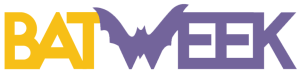 "Bat Week Logo: has a Bat for the ""W"" Bat in yellow, week in purple"