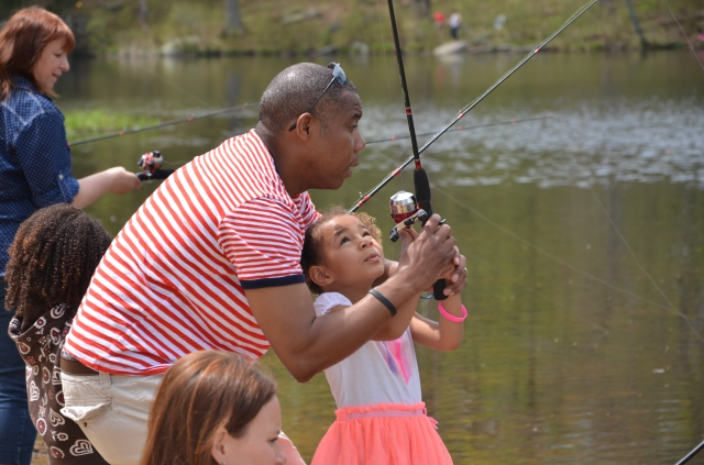 With funding from the Service's Wildlife and Sport Fish Restoration program, the Community Water's Program offers CT residents more places to fish, closer to highly populated neighborhoods. Photo credit: Mike Beauchene, CT DEEP