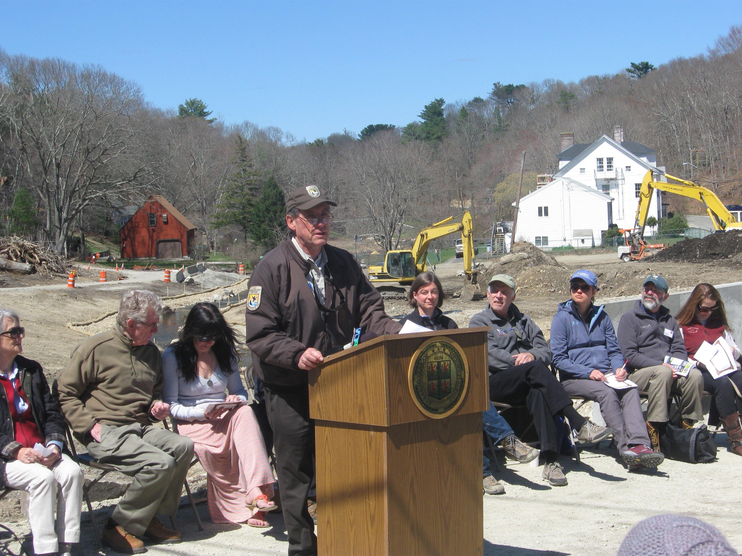 Derleth delivering a speech at the Plymco Dam Removal Dedication Event (2015) Credit: MA Dept. Fish and Game