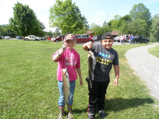 Proud anglers at the White Sulphur Springs Rotary Children's Fishing Derby.