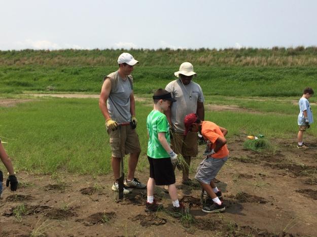 Steve and Kids Planting