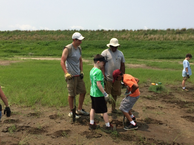 Steve and Kids Planting