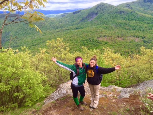 Tesia and a classmate enjoying the Vermont scenery.