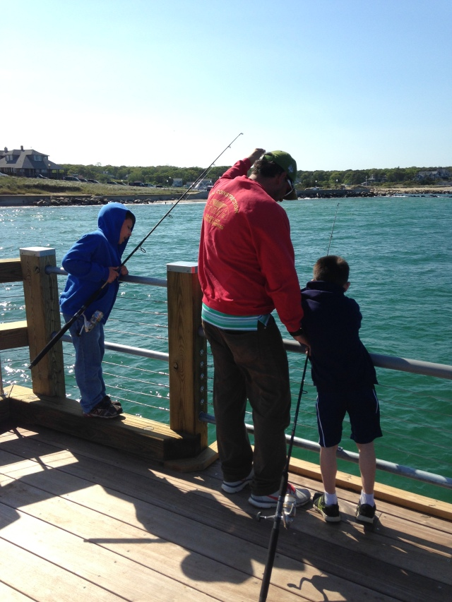 The fishing pier is a great place for families to spend time together enjoying the outdoors. Photo Credit: Ross K. Kessler, Massachusetts Division of Marine Fisheries