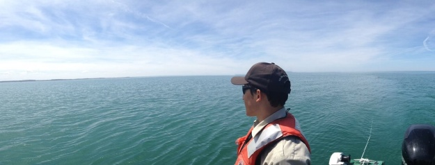 Out on Lake Erie in search of lake sturgeon. Photo credit: USFWS
