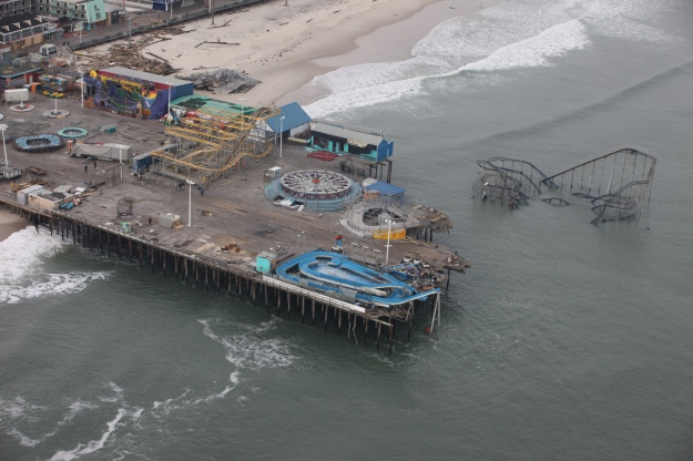 Aerial photo of Casino Pier amusement park in Seaside Heights after Hurricane Sandy Photo credit Greg ThompsonUSFWS