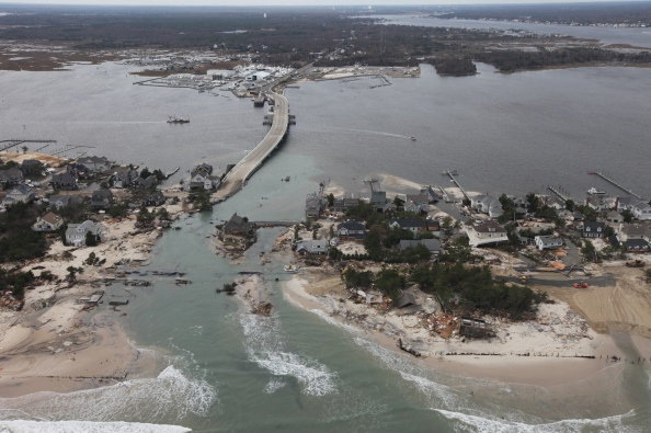 An aerial view of coastal damage caused by Hurricane Sandy in Mantoloking, NJ. Credit: Greg Thompson/USFWS
