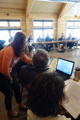 Face-to-face technical support: North Atlantic LCC GIS Analyst Renee Farnsworth offers guidance during a workshop organized to help partners apply regional climate data when making local conservation decisions.