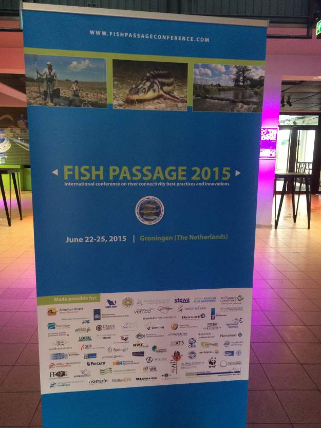 A banner displayed at the Fish Passage Conference held in the Netherlands. Photo credit: USFWS
