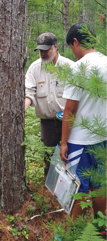 Refuge biologist Mike ? works with campers on forestry management.