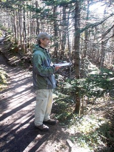 Randy Dettmers conducting a Bicknell's Thrush survey on Mt. Osceola in New Hampshire's White Mountains.