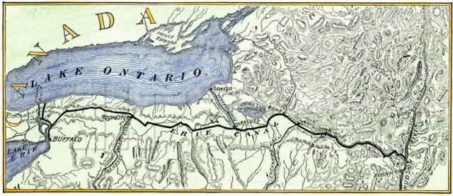A map of the Erie Canal, 1840.
