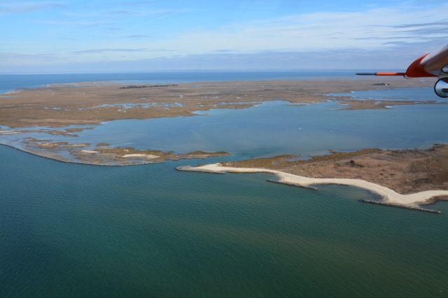 Aerial view of living shoreline Glenn L. Martin National Wildlife Refuge. Credit: USFWS