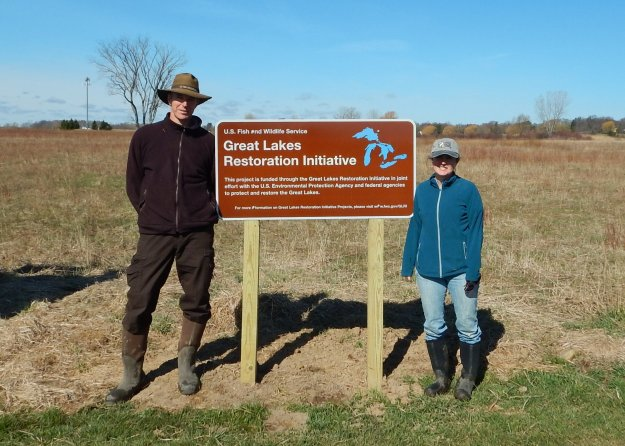 Project Biologist Gian Dodici and New York State Department of Environmental Conservation Biologist Heidi Kennedy at Braddock Bay Wildlife Management Area. Credit: USFWS