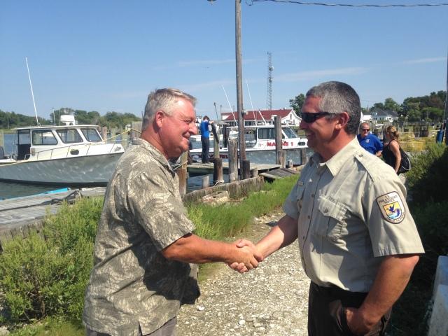 USFWS biologist Matt Whitbeck and Smith Island waterman Mark Kitching. Credit: USFWS