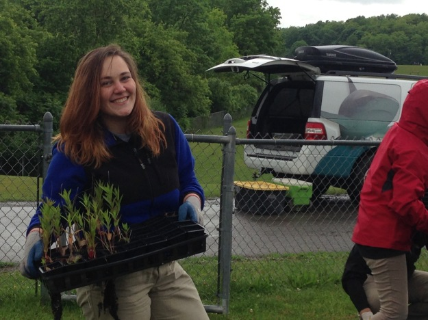 Logan helps gather the plants the high schoolers have maintained throughout their school year. (Photo by Molly Finch)
