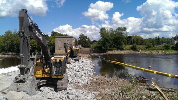 Heavy machinery at hogansburg dam