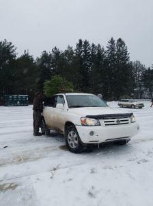 Refuge visitor loads a Scotch pine