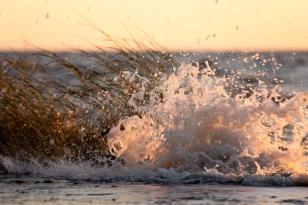 wave crashing at Gandy's Beach