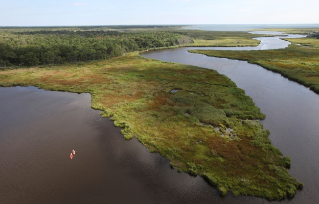 Aerial view of Long Island National Wildlife Refuge.