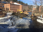 Ice didn't stop the removal of the Marland Place Dam. Credit: Melanie Cutler