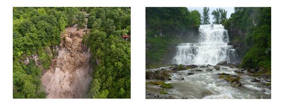 Flooded vs Normal Falls