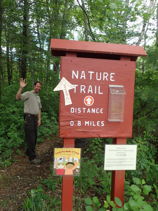 Hatchery manager, Shane Hanlon, welcomes visitors to North Attleboro NFH's first story walk