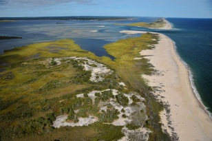 When Hurricane Sandy struck in 2012, it opened a channel in the wilderness area at Fire Island National Seashore, seen near the top of this photo. Credit: NPS