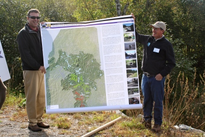 Jed and Peter Lamothe show a map of Penobscot River restoration efforts. Credit: USFWS