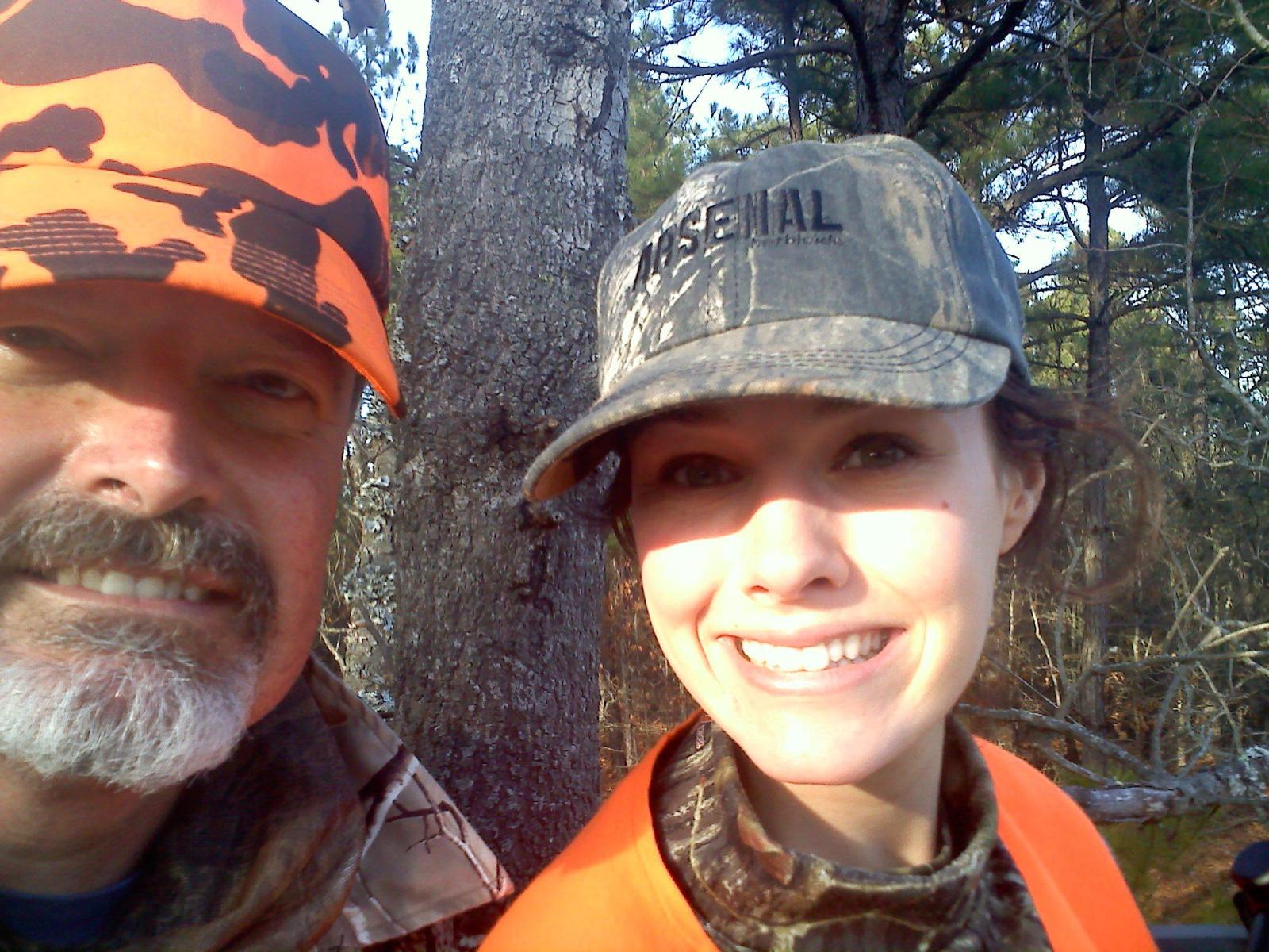 Dad and I sitting in the treestand.