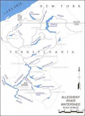The Allegany River (in NY) or Allegheny River (in PA) which flows into the Ohio (Ohi'yo) River and then the Mississippi River. Photo Credit: geocaching.com