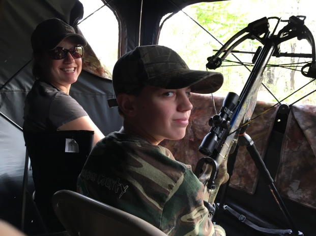 Tanya in the blind with her son during the youth hunt
