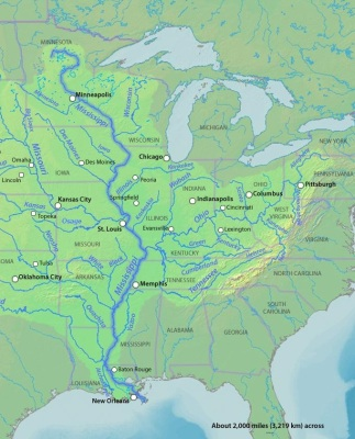 Mississippi River and its tributaries. Photo Credit: DEMIS Map Server