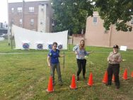 Me (in the middle) clearly a little too excited for archery at a community meeting. Good thing I have Kelly Q and Kelly K, from the John Heinz National Wildlife Refuge at Tinicum's Environmental Education team to keep me grounded.
