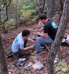 Students collecting samples and taking measurements. Photo Credit: David Marsh