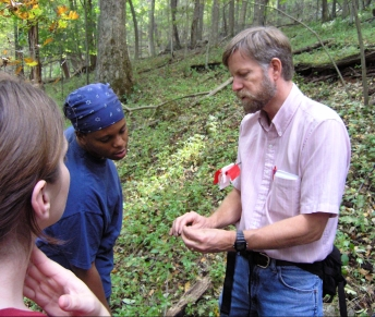 Students learning about the Peaks-of-Otter salamander while standing in its habitat! Photo Credit: Norm Reichenbach