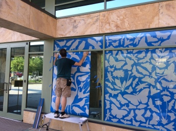 Installing the window art at Patuxent